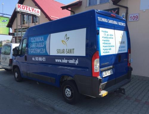 Wykonanie reklamy na busie dla SOLAR SANIT