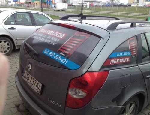 Oklejenie szyb w samochodzie dla firmy Hydraulicznej